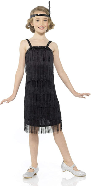 Karnival Costumes Flapper Costume Girls, 20s Dress with Headband, Kids 9-10 Years, Black, Extra Large