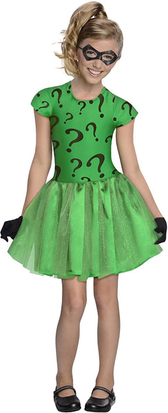 DC Super Villain Collection Riddler Girl's Costume with Tutu Dress, Medium