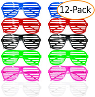 Party Favor Slotted Glasses, Costume Dress Up Glasses, Photo Op Glasses, 6 Colors, 12 Pairs-Red/Pink/Blue/Green/Black/White