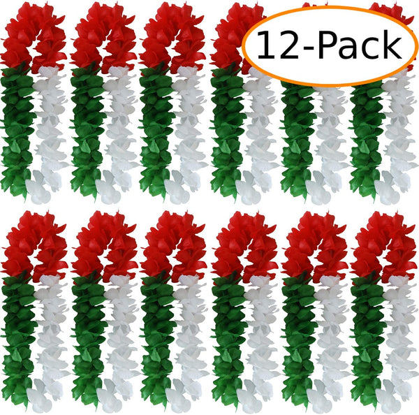 Fantasia Collections Tricolor Leis Green/White/Red Hawaiian Leis