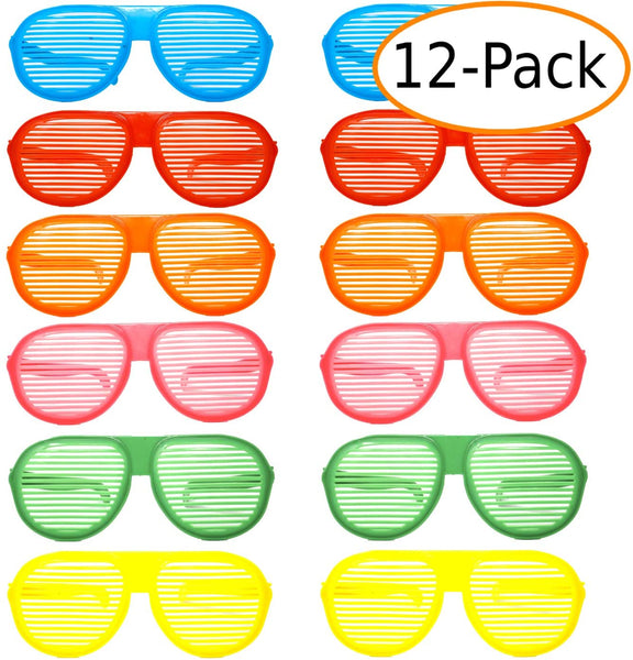 "10"" JUMBO Size Colorful Slotted Party Favor Sunglasses, Photo Props, Costume Dress Up Glasses, for Adults and Children 12 ct"
