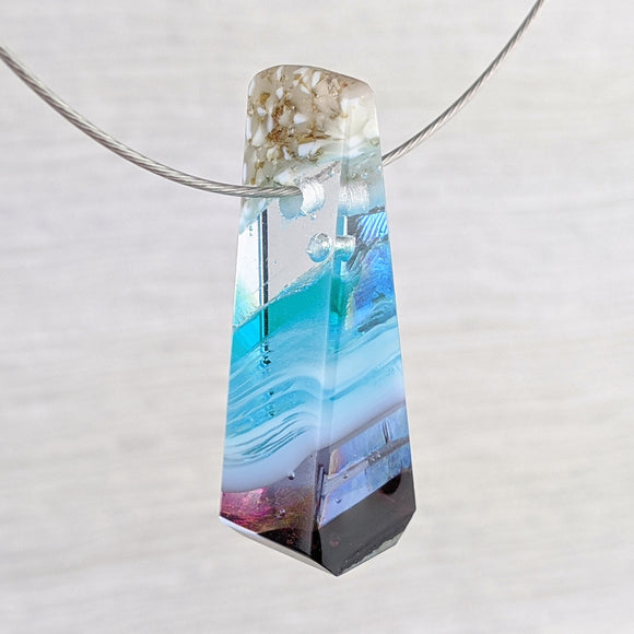 3D Aquascape Mini Tower Pendant, Dichroic Ocean Beach Necklace