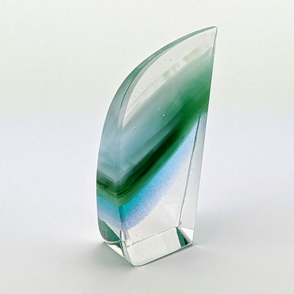 3D Aquascape Glass Crystal, Blue Dichroic Ocean Beach Mini Sculpture