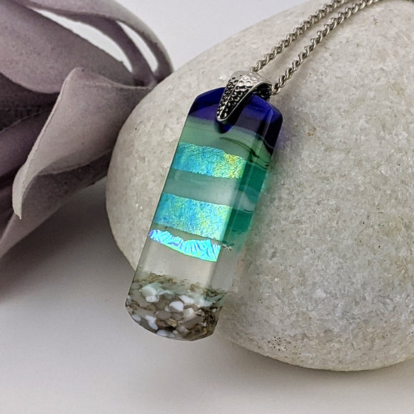 Aqua Turquoise Blue Seascape, Fused Glass Ocean Beach Necklace, Dichroic Aquascape Pendant