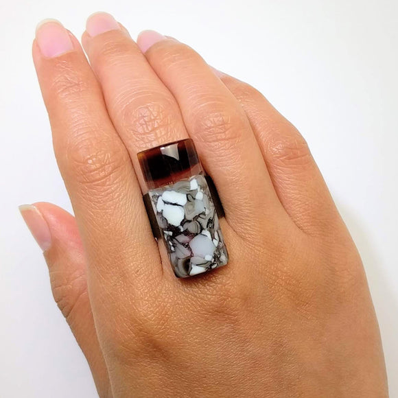 Grey Stone Statement Ring, Cocktail Ring, Chunky Ring, Glass Ring, Big Bold Adjustable Ring