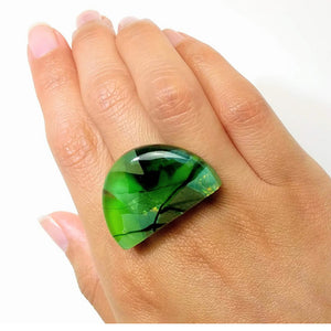 Bright Green Statement Ring, Cocktail Ring, Chunky Ring, Glass Ring, Big Ring, Bold Ring, Adjustable Ring, Dichroic Ring