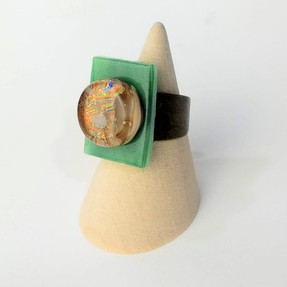 Green And Copper Statement Ring, Cocktail Ring, Chunky Ring, Glass Ring, Big Bold Adjustable Ring