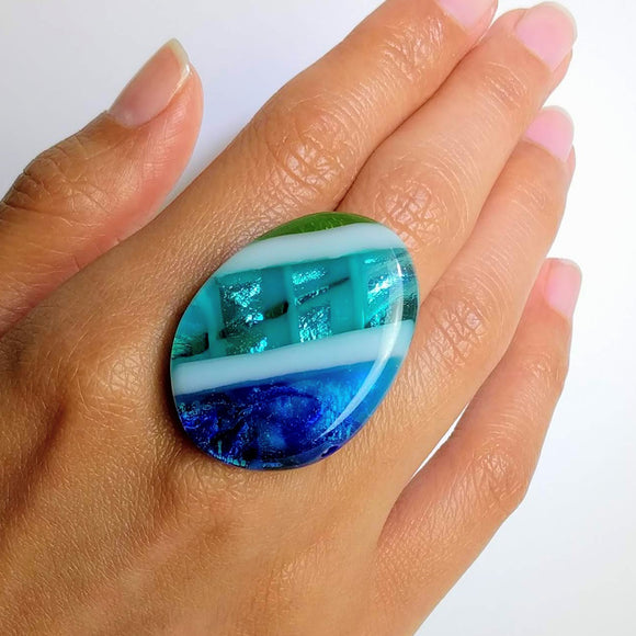 Blue Stripe Statement Ring, Cocktail Ring, Chunky Ring, Glass Ring, Big Ring, Bold Ring, Adjustable Ring, Dichroic Ring