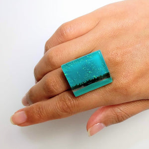 Sky Blue Statement Ring, Cocktail Ring, Chunky Ring, Glass Ring, Big Ring, Bold Ring, Big, Adjustable Ring, Dichroic Ring