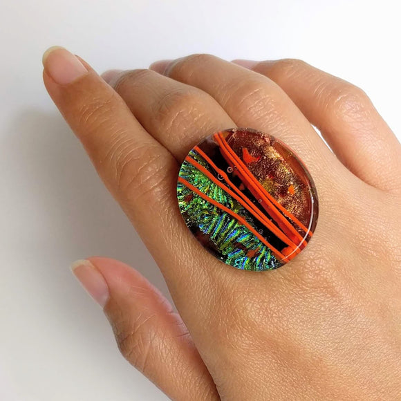Copper And Teal Statement Ring, Cocktail Ring, Chunky Ring, Glass Ring, Big Ring, Bold Ring, Boho Ring, Adjustable Ring, Dichroic Ring