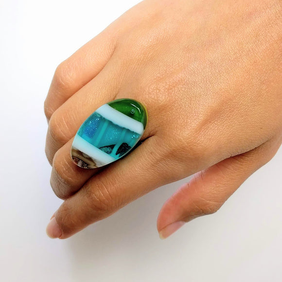 Blue And Green Statement Ring, Cocktail Ring, Chunky Ring, Glass Ring, Big Bold Adjustable Ring