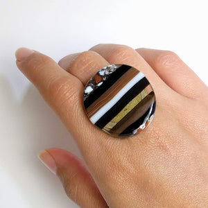 Brown And Black Statement Ring, Cocktail Ring, Chunky Ring, Glass Ring, Big Bold Adjustable Ring