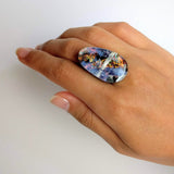 Blue Rainbow Statement Ring, Cocktail Ring, Chunky Ring, Glass Ring, Big Bold Adjustable Ring