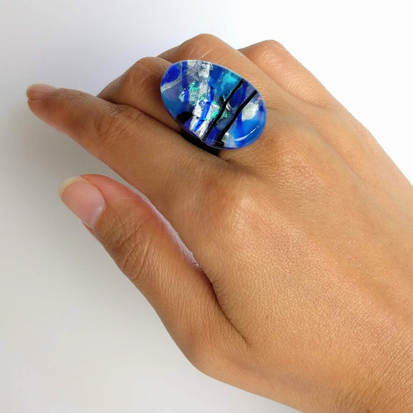 Blue And Silver Statement Ring, Cocktail Ring, Chunky Ring, Glass Ring, Big Ring, Bold Ring, Adjustable Ring, Dichroic Ring