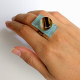Blue And Brown Statement Ring, Cocktail Ring, Chunky Ring, Glass Ring, Big Ring, Bold Ring, Handmade Ring