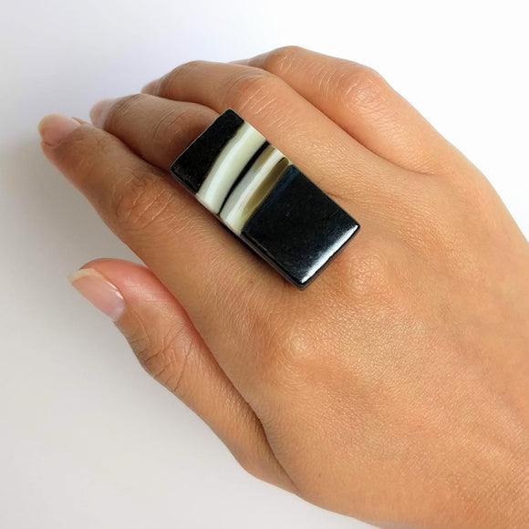 Iridized Blue Statement Ring, Cocktail Ring, Chunky Ring, Glass Ring, Big Ring, Bold Ring, Adjustable Ring