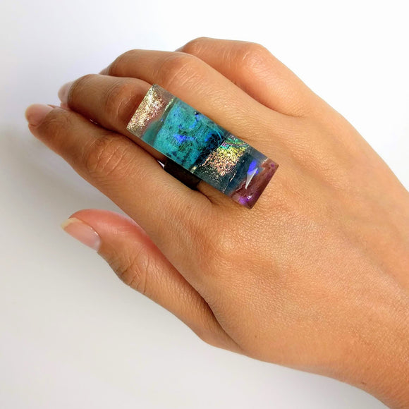 Clear Blue Statement Ring, Cocktail Ring, Chunky Ring, Glass Ring, Big Bold Adjustable Ring