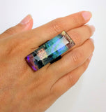 Clear Blue Statement Ring, Cocktail Ring, Chunky Ring, Glass Ring, Big Ring, Bold Ring, Adjustable Ring, Dichroic Ring