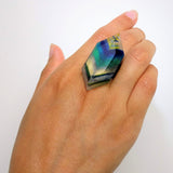 Clear Blue Stripe Statement Ring, Cocktail Ring, Chunky Ring, Glass Ring, Big Bold Adjustable Ring