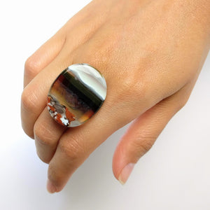 Brown And White Statement Ring, Cocktail Ring, Chunky Ring, Glass Ring, Big Bold Adjustable Ring
