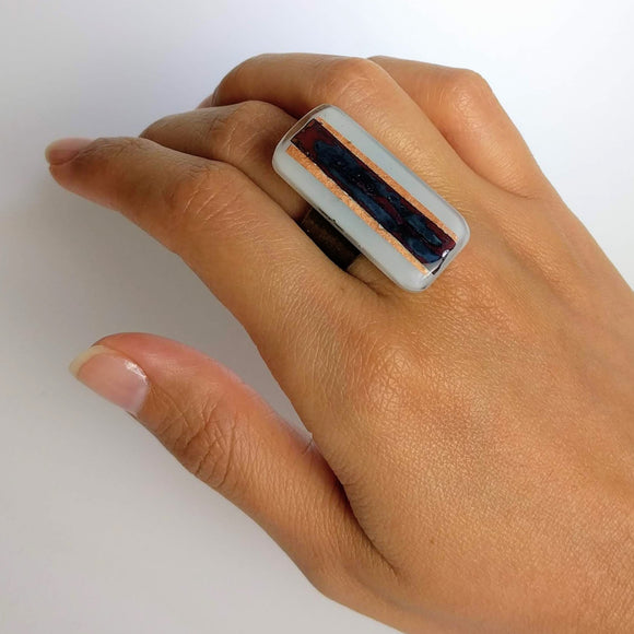 White And Copper Statement Ring, Cocktail Ring, Chunky Ring, Glass Ring, Big Bold Adjustable Ring
