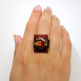 Brown And Copper Statement Ring, Cocktail Ring, Chunky Ring, Glass Ring, Big Ring, Bold Ring, Adjustable Ring, Dichroic Ring
