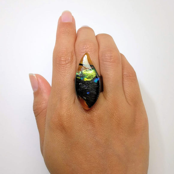 Black Gold Statement Ring, Cocktail Ring, Chunky Ring, Glass Ring, Big Ring, Bold Ring, Adjustable Ring, Dichroic Ring
