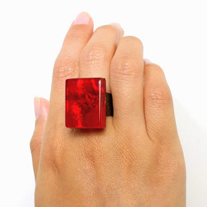 Cherry Red Statement Ring, Cocktail Ring, Chunky Ring, Glass Ring, Big Ring, Bold Ring, Adjustable Ring, Dichroic Ring