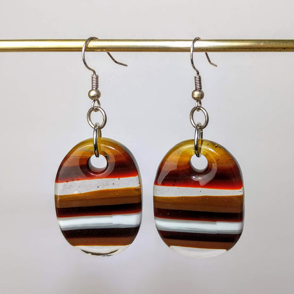 Brown Amber White Clear Stripe Dangle, Fused Glass Earrings