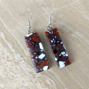 Brown White Sienna Stone Dangle, Fused Glass Earrings, Handmade Earrings, Fused Glass Jewelry