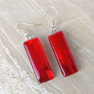Bright Cherry Red Dangle, Dichroic Earrings, Dichroic Jewelry, Fused Glass Earrings