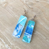 Aqua Blue White Stripe Dangle, Dichroic Earrings, Dichroic Jewelry, Fused Glass Earrings