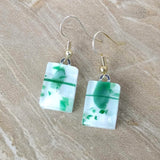 White Green Stripe Dangle, Dichroic Earrings, Dichroic Jewelry, Fused Glass Earrings, Handmade Earrings, Fused Glass Jewelry