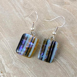 Amber Blue Black Stripe Dangle, Dichroic Earrings, Dichroic Jewelry, Fused Glass Earrings