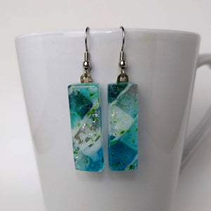 Aqua Blue White Silver Speckle Dangle, Dichroic Earrings, Dichroic Jewelry, Fused Glass Earrings, Handmade Earrings, Fused Glass Jewelry