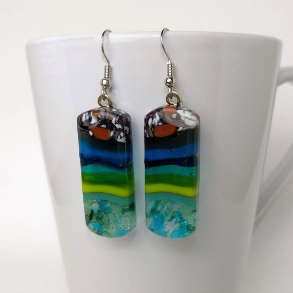 Blue Green Turquoise Stripe Stone Dangle, Fused Glass Earrings