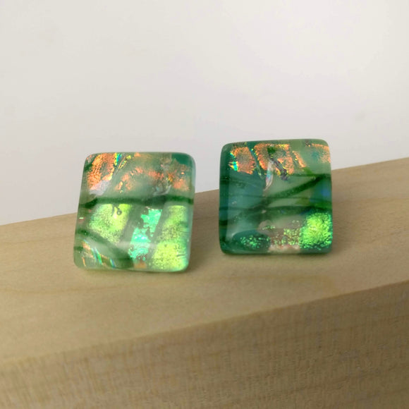 Jade Green Stripe Square Button, Dichroic Earrings, Dichroic Jewelry, Fused Glass Earrings, Handmade Earrings, Fused Glass Jewelry