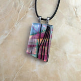 Pink Lavender Green Black Stripe Copper Geometric, Fused Glass Necklace, Fused Glass Pendant