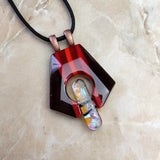 Brown Red Amber Facet, Fused Glass Necklace, Fused Glass Pendant