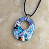 Blue Lavender Silver Rainbow Sparkle Oval, Fused Glass Necklace, Fused Glass Pendant
