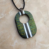 Black Gold Brown White Stripe Oval Ring, Fused Glass Necklace, Fused Glass Pendant