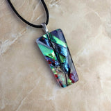 Blue Gold Red Black Stripe Geometric, Fused Glass Necklace, Fused Glass Pendant