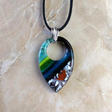 Blue Green Water Stone Teardrop, Fused Glass Necklace, Fused Glass Pendant