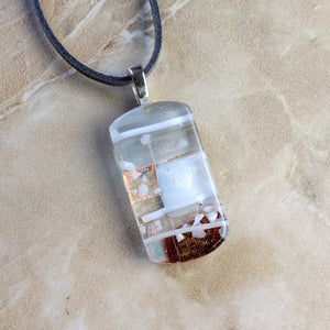Amber Copper Gray White Stripe Geometric, Fused Glass Necklace, Fused Glass Pendant, Fused Glass Jewelry, Dichroic Glass, Glass Jewelry