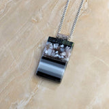Black Gray Stripe Stone Geometric, Fused Glass Necklace, Fused Glass Pendant