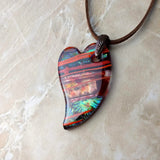 Brown Copper Blue Orange Stripe Heart, Fused Glass Necklace, Fused Glass Pendant, Fused Glass Jewelry, Dichroic Glass, Glass Jewelry