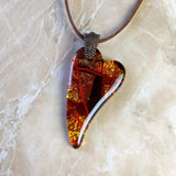 Amber Brown Gold Copper Red Heart, Fused Glass Necklace, Fused Glass Pendant