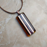Amber Brown Gold Copper Stripe Geomtric, Fused Glass Necklace, Fused Glass Pendant