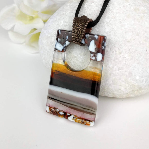 Brown Amber White Stone Sunset, Fused Glass Necklace, Fused Glass Pendant