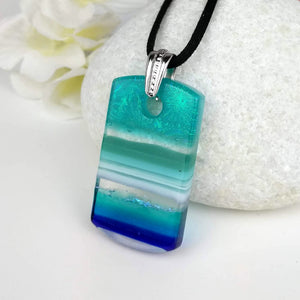 Turquoise Blue White Stripe Ocean Geometric, Fused Glass Necklace, Fused Glass Pendant